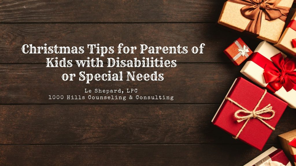 Christmas Tips for Parents of Kids with Disabilities or Special Needs on wooden background with gifts