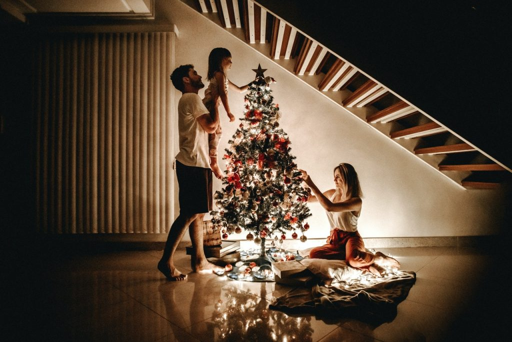 pretty family at Christmas in a spotless home